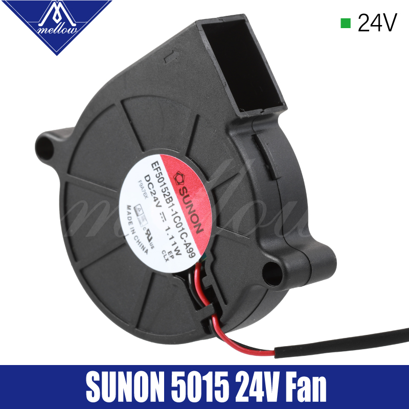 Mellow Exclusive Sunon 3D Printer Blower Fan 5015 24V 0.41A Double Bearing Fan Centrifugal DC Cooling Turbo Fan 5015S(China)