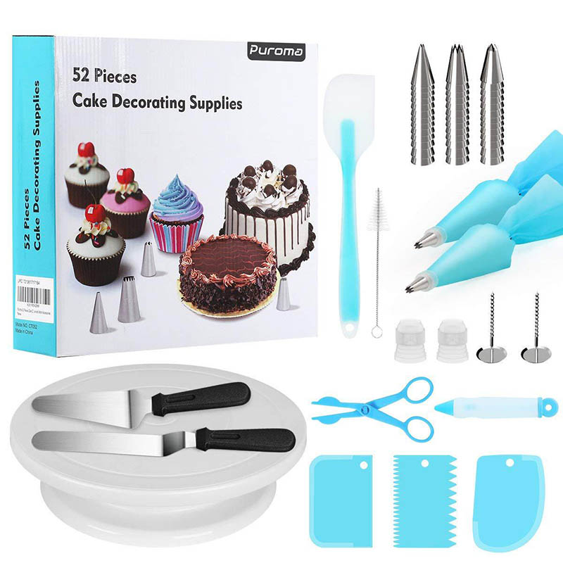 52pcs Set DIY Cake Turntable Rotating With Dough Knife Shovel Stainless Steel Pastry Nozzles for Cream Making Cake Accessories in Turntables from Home Garden