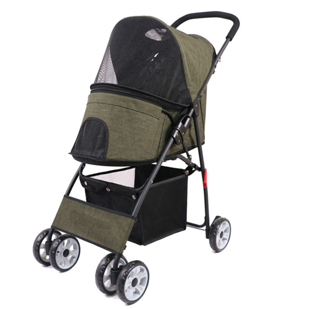 Pet Dog Puppy Cat Travel Stroller Pushchair Jogger Folding Pet Trolley Cat Teddy Trolley Cage Four Wheels Outdoor Travel Supplie