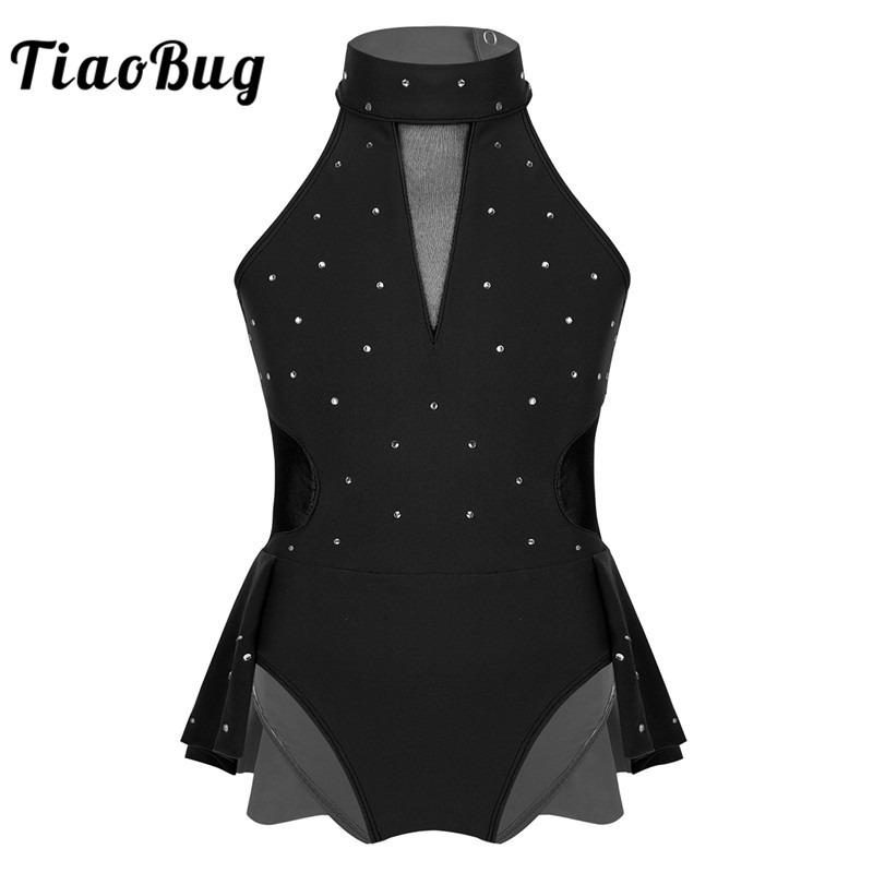 TiaoBug Sparkly Rhinestone Mesh Splice Ballet Gymnastics Leotard Girls Figure Skating Dress Kids Contemporary Rave Dance Costume
