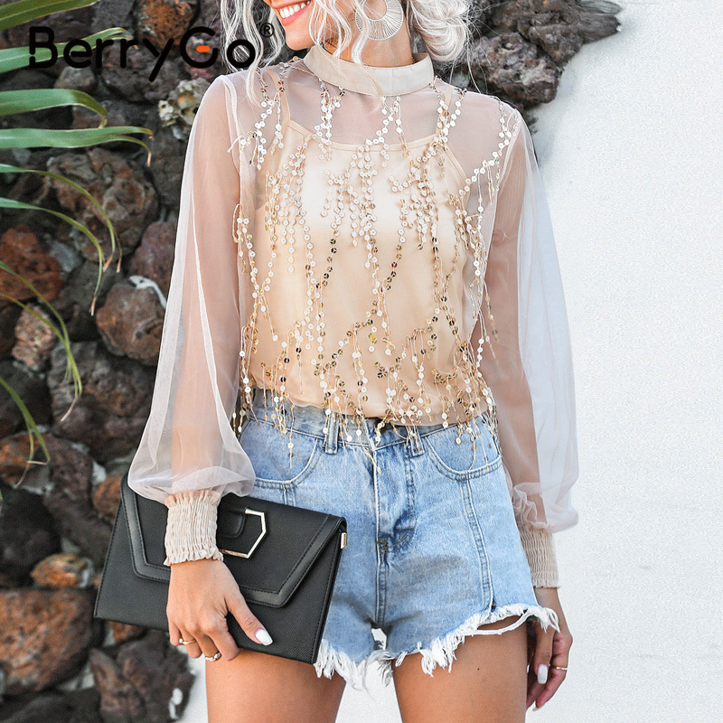 BerryGo Sexy Tassle Sequin Women Blouse Shirt 2020 Spring Patchwork Female Tops Shirt Party Club Puff Sleeve Casual Tops Ladies