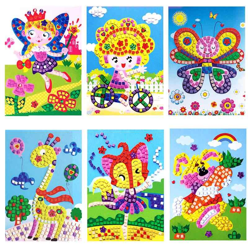 3D Schuim Mozaïeken Sticky Crystal Mozaïeken Art Prinses & Vlinders Sticker Game Craft Art Sticker Game Craft Kids Nummer Leren