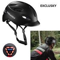 Exclusisky estrada ciclismo capacete da cidade capacete vermelho bicicleta de segurança ao ar livre esporte boné com luz led usb tamanho de carregamento 56 61 61cm e