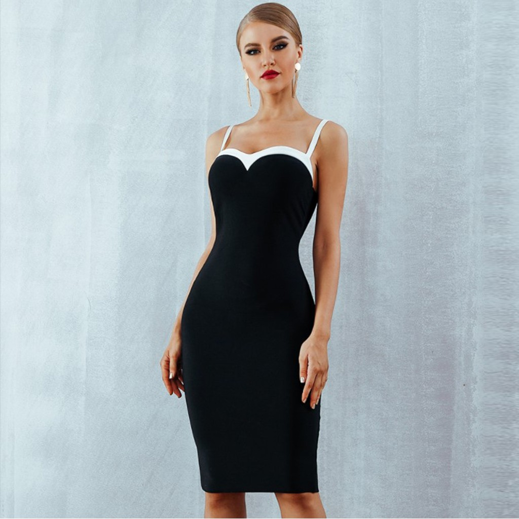 Women Sexy Dress Bodycon Shoulder Strap Black and White Evening Party Dress Mini Dress Sleeveless Nightclub Dress vestidos