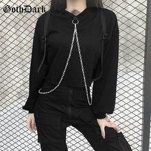 Женская толстовка с капюшоном goth dark черная Свободная Толстовка