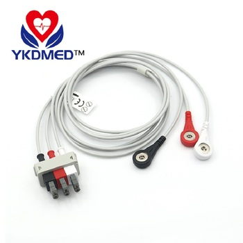 5pcs/pack Free shipping! patient monitor ECG cable leadwires with 3 leads, snap ends / AHA, CE&ISO13485