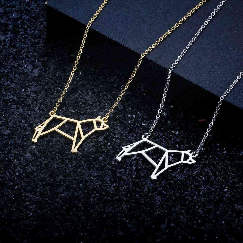 100% الفولاذ المقاوم للصدأ الحيوان الحيوان الذئب الأزياء قلادة للنساء خاص هدية فريد تصميم قلادة القلائد