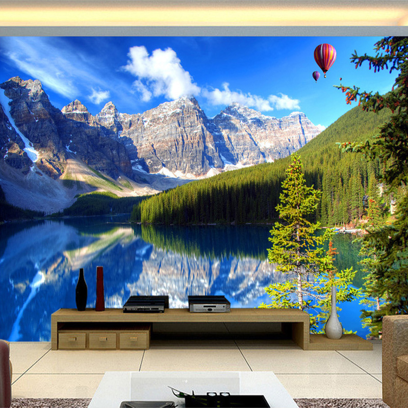Custom Mural Wall Papers Home Decor Snow Mountain Lake Nature Landscape Photography Background Wall Painting 3D Photo Wallpaper