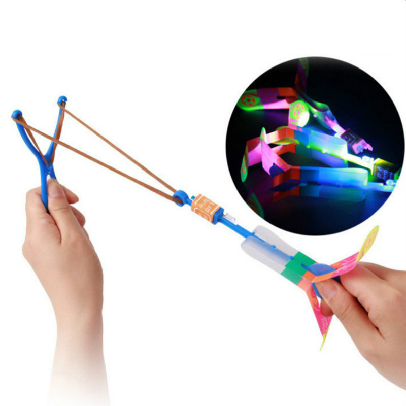 3 Pcs Funny Luminous Slingshot Flying Arrow LED Light Up Flashing Dragonfly Glow For Kids Party Toys Gift To Brighten The Sky