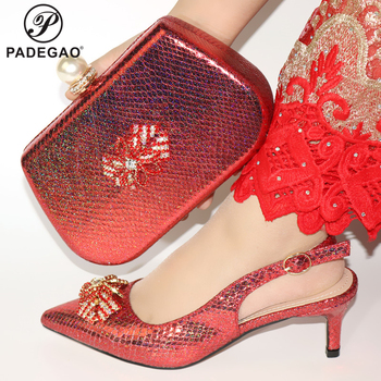 2020 New Design Red Color Italian Women Shoes and Bag to Match African Lady Matching Shoes and Bag Set for Party