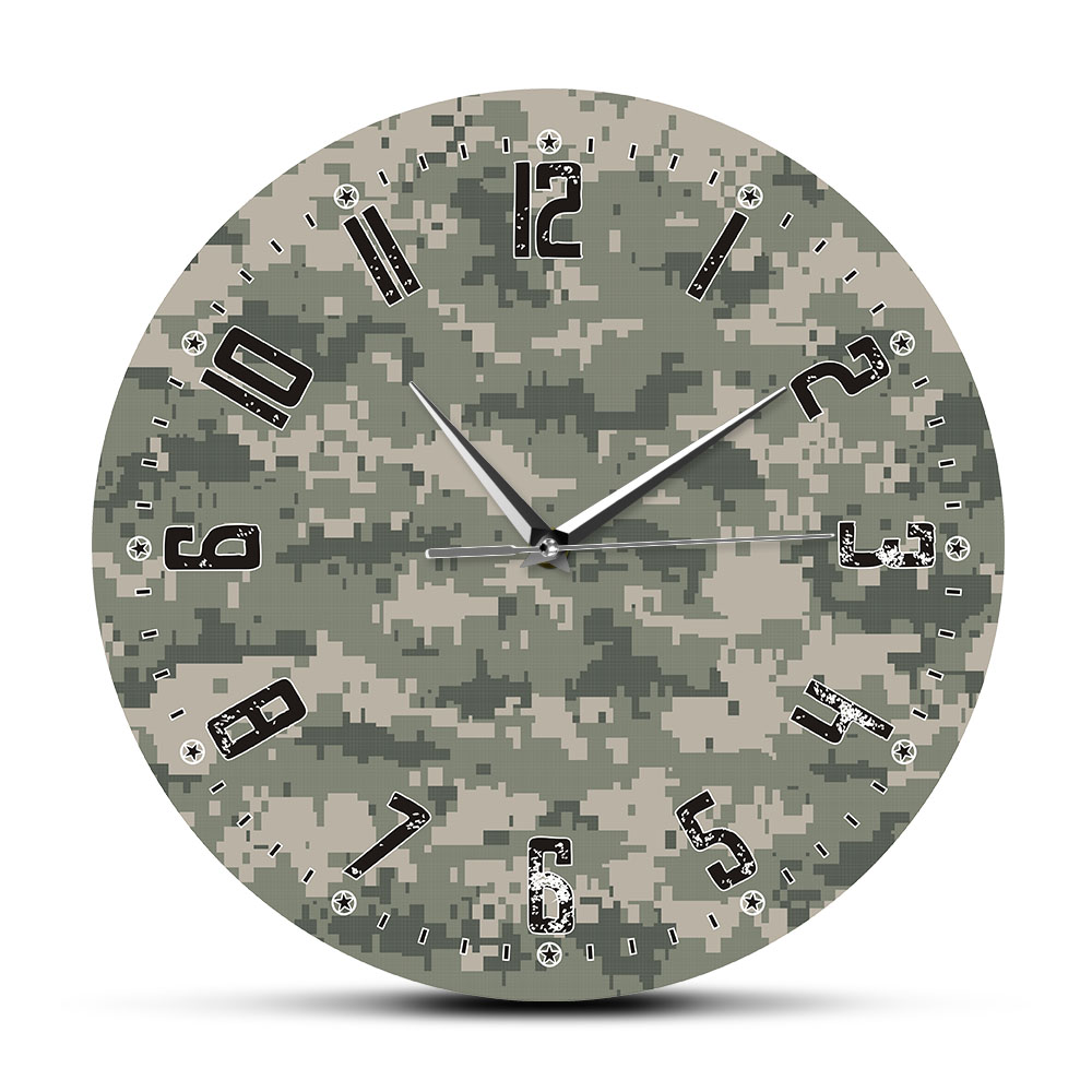 Army Soliders Green Camouflage Wall Art Modern Bedroom Silent Wall Clock Military Hanging Clock Wall Watch Man Cave Camo Decor