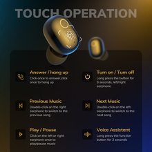 TOPK T10 TWS Wireless Headphones Bluetooth 5.0 Earphones 2000mAh Charging Box Earbuds Fingerprint Touch Headset For Sports /Game