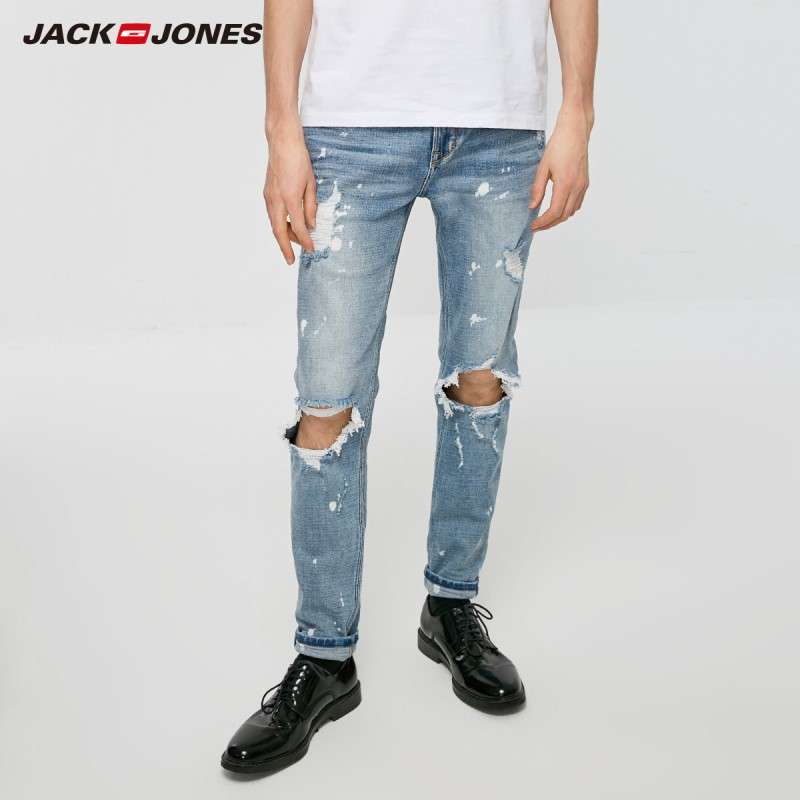 JackJones Men's Spring & Summer Ripped Spray Paint Streetwear Jeans| 219132600