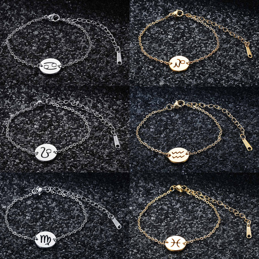 12 Constellation Zodiac Charm Bracelet for Women Female 100% Stainless Steel AAAAA Quality Bracelet High Polish Charms Bracelets