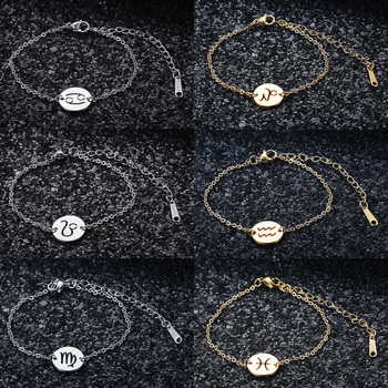12 Constellation Zodiac Charm Bracelet for Women Female 100% Stainless Steel AAAAA Quality High Polish Charms Bracelets