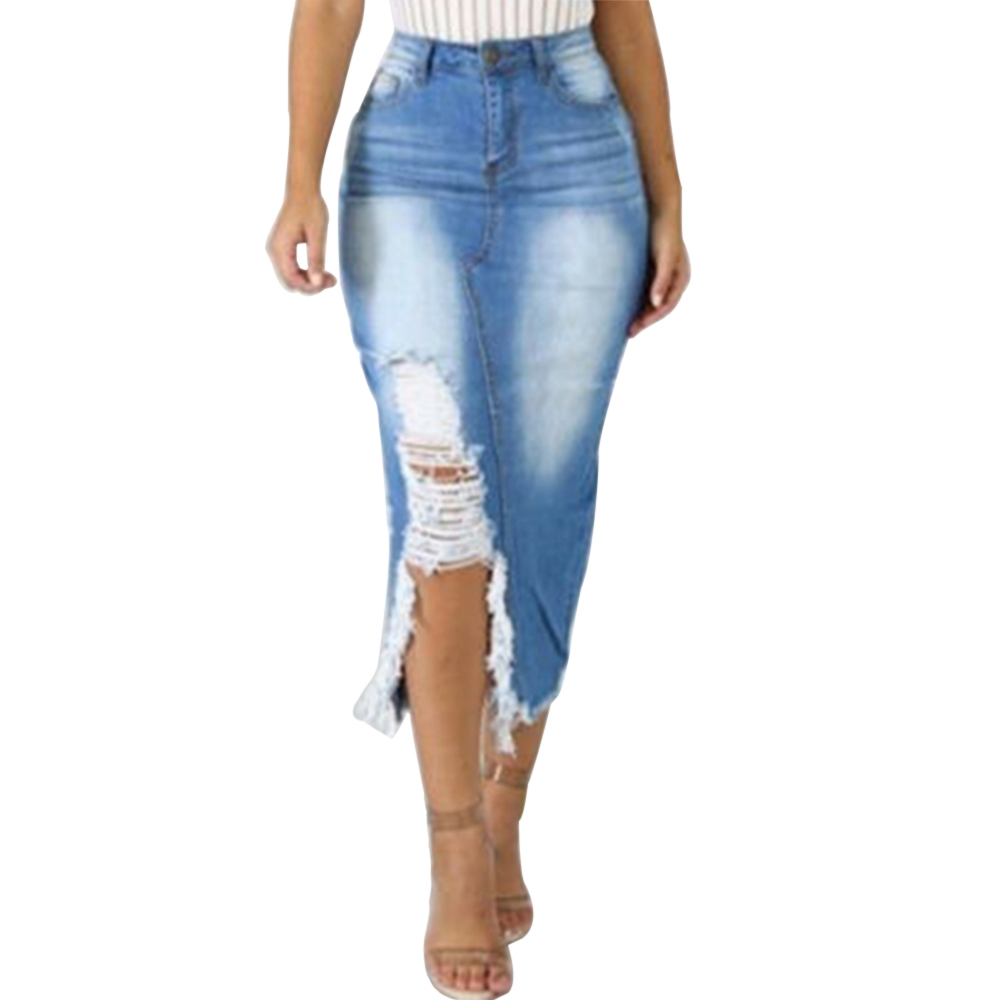 Women Skinny Jeans Skirts Sexy High Waist Mid Calf Ladies Skirt High Street Ripped Denim Skirt Casual Bodycon Pencil Skirt