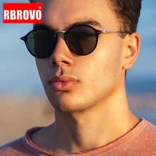 RBROVO moda męskie okulary przeciwsłoneczne w stylu Retro marka projektant owalne okulary dla mężczyzn kobiet w stylu Vintage mężczyźni okulary luksusowe lustro óculos De Sol tanie tanio CN (pochodzenie) ROUND Dla dorosłych Ze stopu Fotochromowe Antyrefleksyjną UV400 51mm Żywica Sunglasses EG2447 58mm Round face Long face Square face Oval shape face