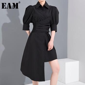 [EAM] Women Pleated Irregular Big Size Shirt Dress New Lapel Three-quarter Sleeve Loose Fit Fashion Spring Summer 2020 1U18001