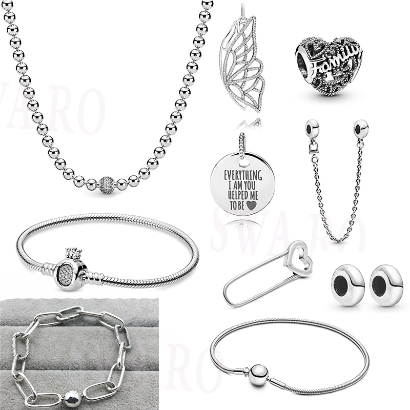 Autumn New Fashion Me Link Safety Pin Brooch  Chain Butterfly Pendant Family Heart Original Women DIY Jewelry Gift