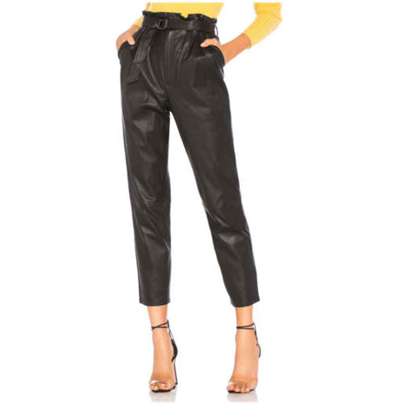 Women Ladies PU Leather High Waist Jegging Stretch Pants With Pocket Belt Autumn Loose Solid Party Slim Fit Long Pencil Trousers