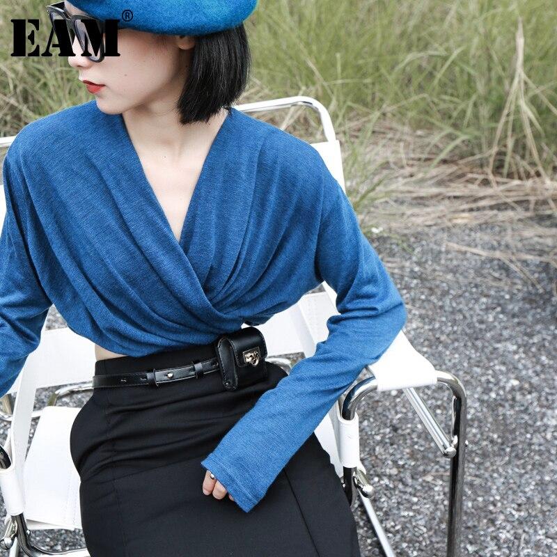 [EAM] Women Blue Brief Pleated Split Temperament T-shirt New V-Neck Long Sleeve  Fashion Tide  Spring Autumn 2020 1K285