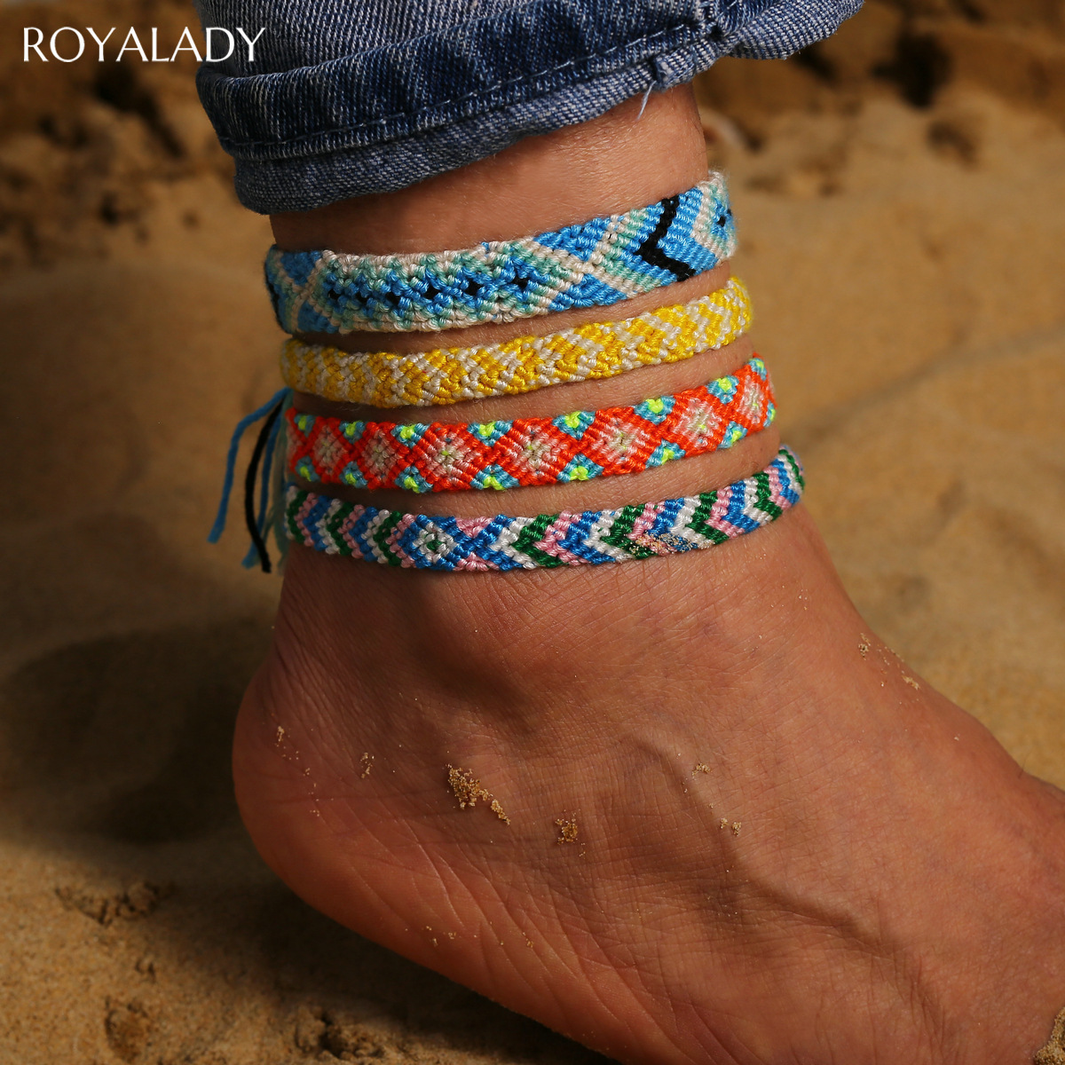 Bohemia Handmade Colorful Cotton Anklet Bracelet Female 2020 Summer Beach Sandal Leg Bracelet Vintage Rope String Ankle Bracelet