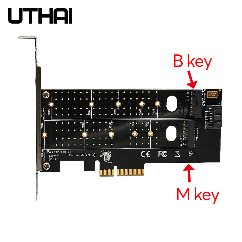 Uthai T15 PCIe To M.2 NVMe SSD NGFF Adapter Card 110mm M Key Plus B Key Dual Expansion Card PCI-E X4 X8 X16 Fit 2 Msata SSD