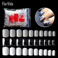 FlorVida 600pcs Kit Nail Art False Nails Short Square Fake Tips Transparent Natural White Acrylic For Manicure Design