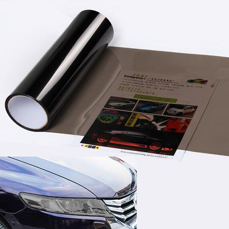 30*100cm mat siyah araba ışık çıkartmaları araba işık far arka lamba tonu vinil şerit etiket sis lambası arka lamba duman Film