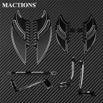 Motorcycle Rear Front Floorboards Shift Linkage Lever Pegs Brake Arm Kit For Harley Touring 2008-2013 Trike Road Street Glide