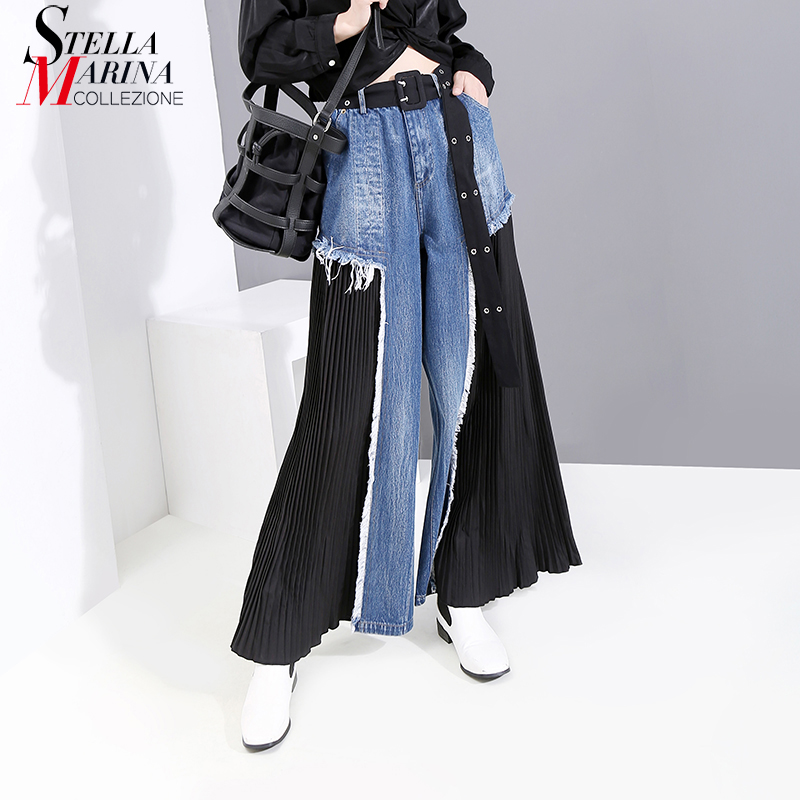 New 2019 Women Autumn Full Length Denim Patchwork Pants Ripped Design Ladies Stylish Holiday Casual Wide Legs Pleated Pants 5435