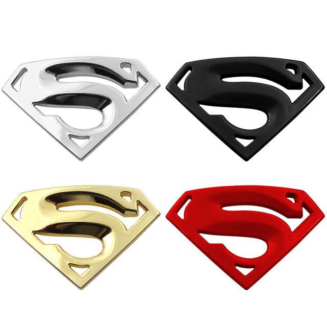 1pcs Car-styling Products 3D 3M chrome emblem Cool Funny Car Stickers Auto logo Superman badge metal Motorcycle Car Accessories