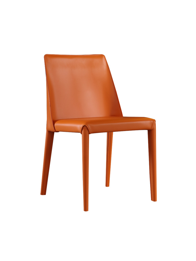 Nordic Dining Chair Home Modern Simple Light Luxury Restaurant  Back   Cafe Study  Saddle Leather