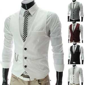 Vests Jacket Male Waistcoat Homme Formal Casual Suit Dress Business Mens Sleeveless Slim
