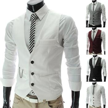 2020 New Arrival Casual Sleeveless Formal Business Jacket Dress Vests For Men Slim Fits Mens Suit Vest Male Waistcoat Homme