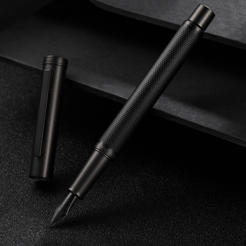 Hongdian Black Metal Fountain Pen Titanium Black EF/F/Bent Nib Beautiful Tree Texture Excellent Writing Gift For Business Office