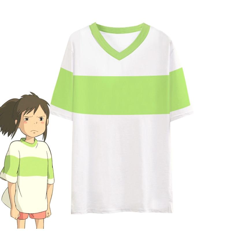 Movie Spirited Away Ogino Chihiro Cosplay Costume T-shirt Shorts Women Full Set