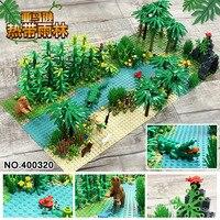 32*32 Dots Classic Base Plates Tropical Rainy Climate Plastic Baseplates Green Jungle Compatible Legoinglys Building Blocks Toys