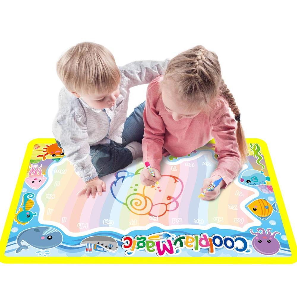 Волшебная водная живопись коврик для рисования и 2 ручки каракули доска раскраски для детей детские развивающие игрушки|Игрушки для рисования|   | АлиЭкспресс