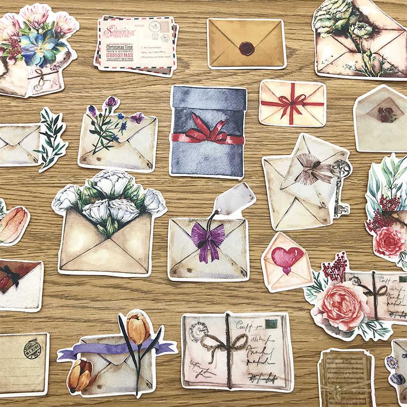 Oude Bloemen Enveloppen Letters Stickers Junk Journal Dagboek Planner Sticker Scrapbooking Decoratieve Sticker DIY Ambachtelijke Fotoalbum