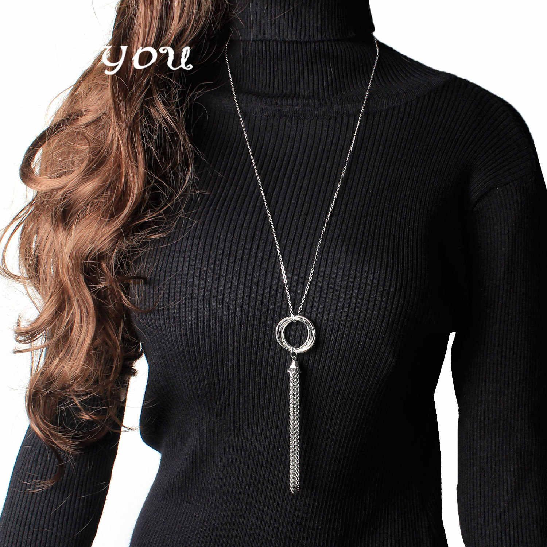 トレンド新長期タッセルペンダントネックレスゴールドチェーン鎖骨ネックレス女性のファッション collares ジュエリー XL1268
