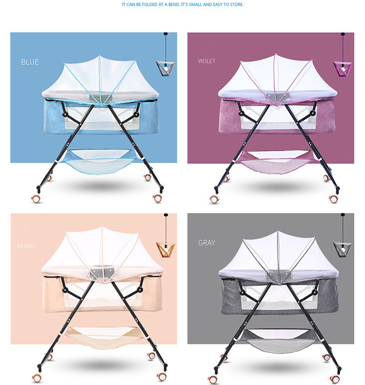 Hc56b42c0f2634a448cf98ff96b8c46efJ Travel bed easy fold sleeping next Baby Nest Crib Portable Removable rocking chair Travel Bed For Children Infant Kids basket