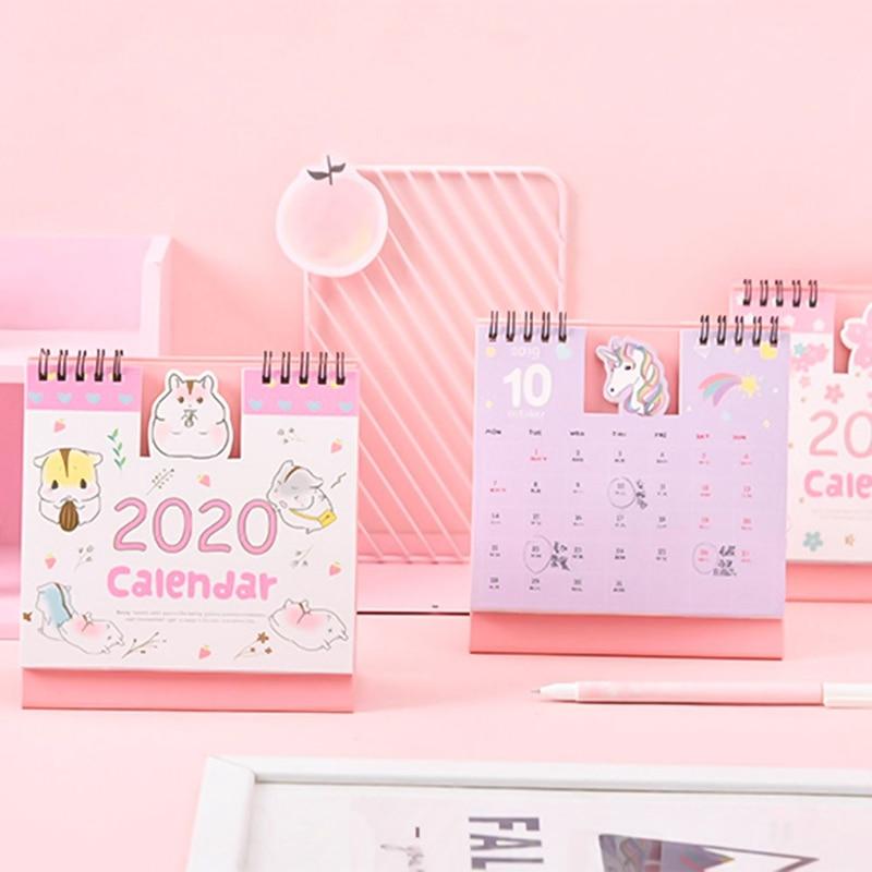 2020 Cute Cartoon Hamster Cherry Blossoms Coil Calendar Mini Portable Desk Calendars Daily Schedule Planner 2019.09-2020.12