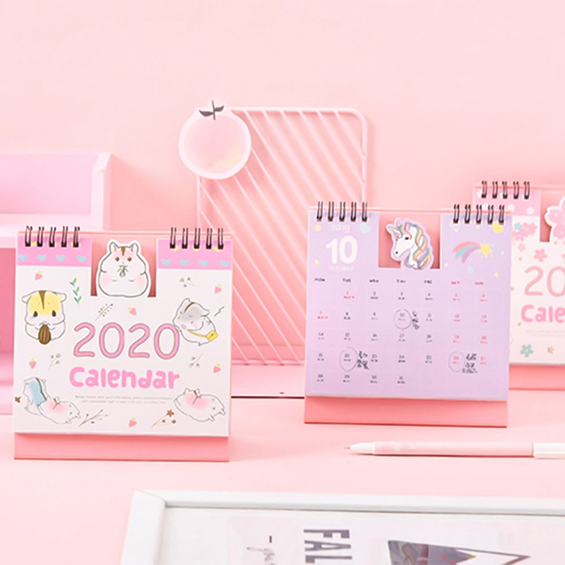 Hand Drawing 2020 Fresh Cartoon Mini Unicorn Desktop Paper Calendar Dual Daily Scheduler Table Planner Yearly Agenda Organizer