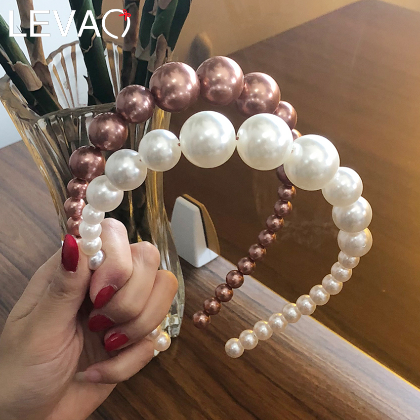 Levao Women Elegant Big Pearls Hairband Beaded Bezel Pearl Headband Hair Accessories Girls Non-slip Hair Hoop Bezel Headdress