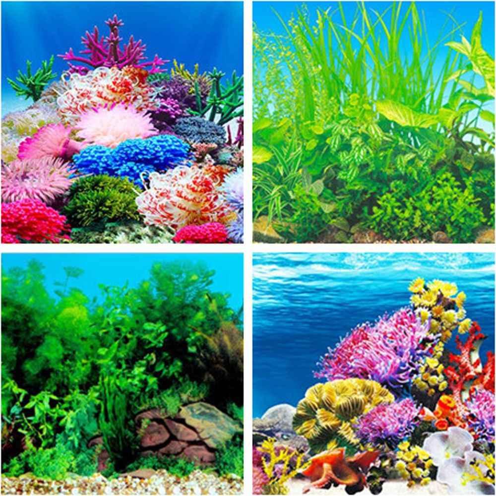 Aquarium Lanskap Stiker Poster Tangki Ikan 3D Latar Belakang Lukisan Stiker Dua Sisi Laut Tanaman Latar Belakang Dekorasi Aquarium