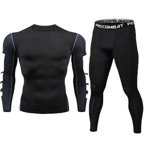 Image 2 - New Fitness Mens Set Pure Black Compression Top + Leggings Underwear Crossfit Long Sleeve + Short Sleeve T Shirt Apparel Set