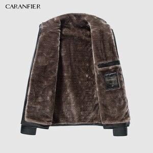 Image 3 - CARANFIER yeni kış motosiklet erkek deri ceket erkekler rüzgarlık PU ceketler erkek dış giyim sıcak PU beyzbol ceketleri boyutu 4XL