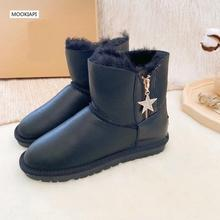 Europe's highest quality snow boots, real sheepskin, natural wool, the latest zipper women's shoes, 4 colors