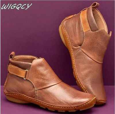 Femmes en cuir PU bottines hiver neige bottes automne chaussures plates dames chaussures courtes en peluche croix sangle Vintage Punk Mujer Botas